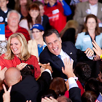 TAMPA, FL -- Republican presidential candidate former Gov. Mitt Romney greets supporters during his Election Night party on decision day during his victory in the Florida Primary on Tuesday, January 31, 2012. (Chip Litherland for The New York Times)