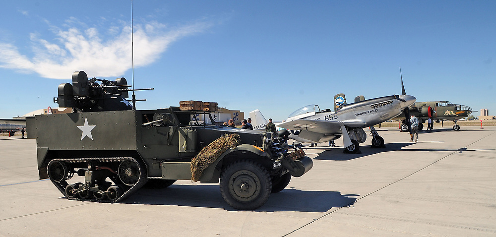 jt040517h/a sec/jim thompson/  A Quad-50 anti-aircraft along side some of the planes that are part of the Wings of Freedom Tour at Cutter Aviation in Albuquerque Wednesday April 5th-7th.  April 05, 2017. (Jim Thompson/Albuquerque Journal)