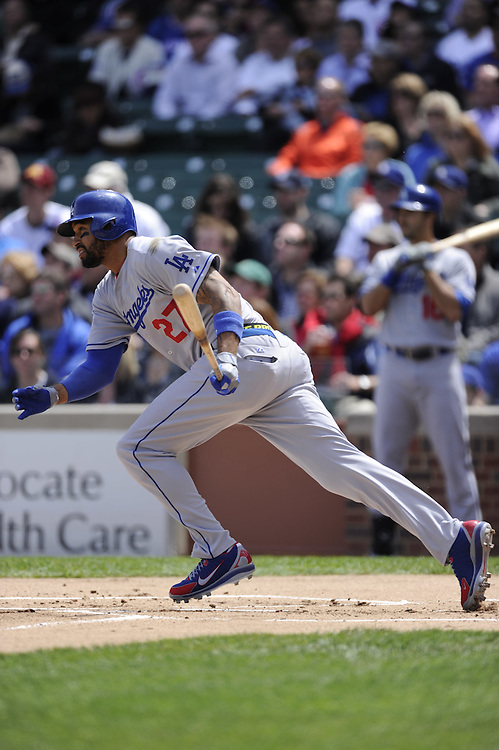 CHICAGO - MAY  04:  Matt Kemp #27 of the Los Angeles Dodgers bats against the Chicago Cubs on May 4, 2012 at Wrigley Field in Chicago, Illinois.  The Cubs defeated the Dodgers 5-4.  (Photo by Ron Vesely)   Subject:  Matt Kemp