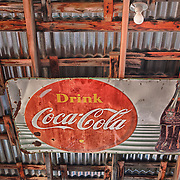 Rusting Drink Coca Cola Sign in Rafters - Eldorado Canyon - Nelson NV - HDR