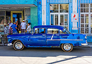 Old blue American car in Cardenas, Matanzas, Cuba.