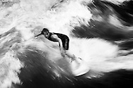Surfers on the Eisbach River, Munich Germany. September 2006<br />