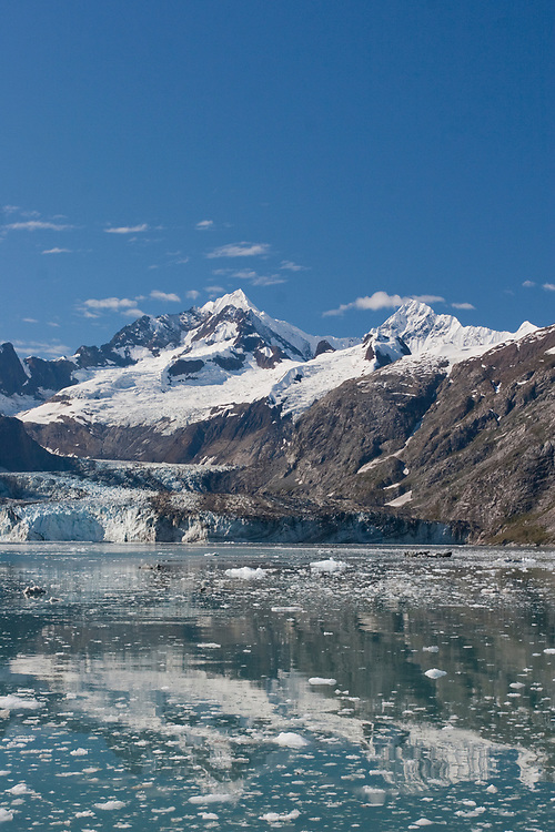 A classic Glacier Bay shot of Johns Hopkins Inlet and Glacier with Mt Orville (Left--10,272') and Mt. Wilbur  (Right--10305) in the background.