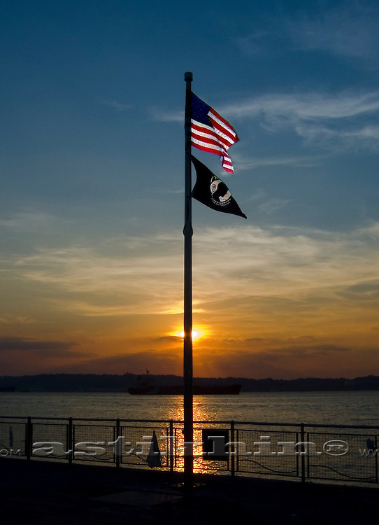 Sunset and American flag