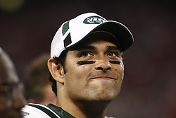 Aug 14, 2009; East Rutherford, NJ, USA;  New York Jets quarterback Mark Sanchez (6) during the second half of their game against the St. Louis Rams at Giants Stadium.