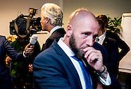 PVV-leider Geert Wilders is een van de dertien insprekers tijdens een raadsdebat over de komst van e