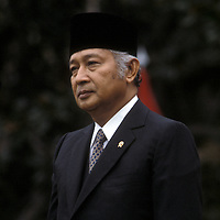 Indonesian President Suharto during an October 1982 visit to the White House in Washington, DC.