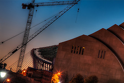 Looking westward at the Kauffman Center construction site.