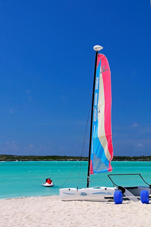 Caribbean, Bahamas, Castaway Cay. Sailing boat rental at Castaway Cay.