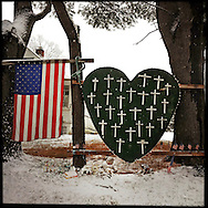 NEWTOWN, CT-10 December 2013- A makeshift memorial on Riverside Road dedicated to those killed during the Sandy Hook Elementary School shooting. The town is trying to resume life as normal as it prepares for the anniversary of the Sandy Hook Elementary School shooting of December 14, 2012.  (Photo by Robert Falcetti)