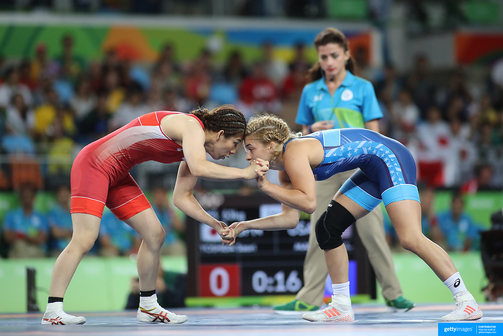 Wrestling - Olympics: Day 13   Helen Louise Maroulis of the United States in action during her victory in the Gold Medal match against Saori Yoshida of Japan in the Women's Freestyle 53 kg Wrestling Final at the Carioca Arena 2 on August 18, 2016 in Rio de Janeiro, Brazil. (Photo by Tim Clayton/Corbis via Getty Images)