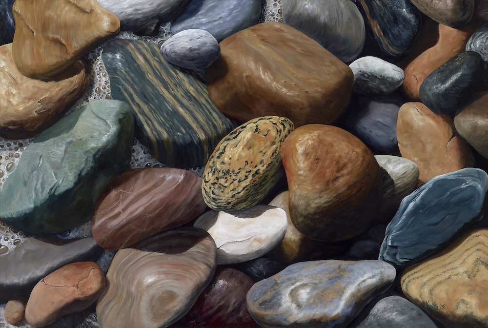 Colorful, tumbled stones line the ocean beaches of Montauk Point, Long Island.  <br />
