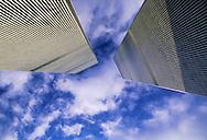 Twin Towers, Looking Up, World Trade Center, designed by Minoru Yamasaki, International Style II, Manhattan, New York City, New York, USA