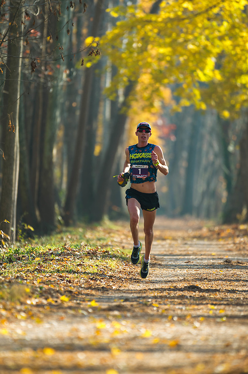 The 2016 JFK 50 Mile Ultramarathon. One of the countries oldest and largest ultras, starts in Boonsboro, Maryland and travels to Williamsport, Maryland. The course traverses the Appalachian Trail, the C&O Canal and rolling back roads.  Men's winner Jim Walmsley at about mile 32 on the canal.
