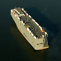 Aerial photograph of the Ocean Highway Car Container in the New York Harbor. Aerial view of Nautical Vessel Aerial view of Nautical Vessel Aerial view of Nautical Vessel