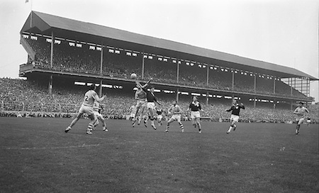 All Ireland Senior Football Championship Final, Dublin v Galway, 22.09.1963, 09.23.1963, 22nd September 1963, Dublin 1-9 Galway 0-10,...Foley (left) Dublin Full Back fists ball pressed by Cleary, Galway, ....