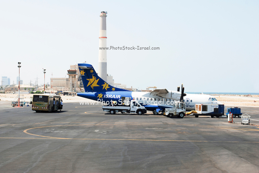 Israel, Tel Aviv, An Israir airlines passenger plane at the Sde Dov domestic airport