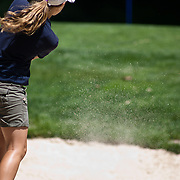 06/30/11 Newark DE: Golfer Kara Walton (13) hits the ball out of the sand pit at hole 14 during round two of the DSGA and DWGA junior golf championships Thursday, June 30, 2011 at Newark Country Club in Newark Delaware.