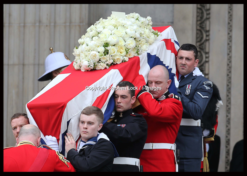 Baroness Thatcher's coffin leaving  St.Paul's Cathedral in London at the end of her funeral service , Wednesday 17th  April 2013 Photo by: Stephen Lock / i-Images