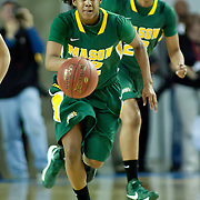 George Mason Guard Kyana Jacobs (22) dribbles the ball up court in the second of a regular season NCAA basketball game against Delaware Thursday, Jan 10, 2013 at the Bob Carpenter Center in Newark Delaware...Delaware (10-3; 1-0) defeated George Mason (5-8; 0-2) 62-27..Delaware is riding a four-game winning streak after defeating George Mason, St. John's in over- time on Jan. 2 and Villanova (Dec. 29) and Duquesne (Dec. 30) to capture the 2012 Dartmouth Blue Sky Classic title.