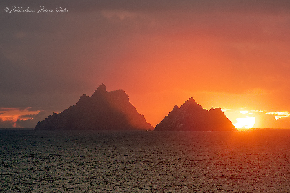 Fiery Skellig Sunset, County Kerry, Ireland ****** <br /> <br /> Visit &amp; browse through my Photography &amp; Art Gallery, located on the Wild Atlantic Way &amp; Skellig Ring between Waterville and Ballinskelligs (Skellig Coast R567), only 3 minutes from the main Ring of Kerry road.<br /> https://goo.gl/maps/syg6bd3KQtw<br /> <br /> ******<br /> <br /> Contact: 085 7803273 from an Irish mobile phone or +353 85 7803273 from an international mobile phone