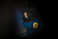 Nobel Peace Prize winner Jose Manuel Barroso holds a speech at the Nobel Peace Prize ceremony.