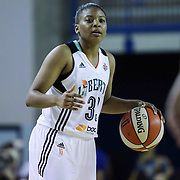New York Liberty Guard Amber Orrange (33) dribbles the ball up the court in the third period of a WNBA preseason basketball game between the Chicago Sky and the New York Liberty Friday, May. 22, 2015 at The Bob Carpenter Sports Convocation Center in Newark, DEL