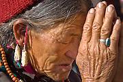 Buddhist woman praying in Ladakh (Little Tibet), India