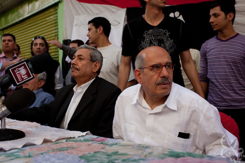 Egyptian Nobel Peace laureate and former UN atomic watchdog chief, Mohamed ElBaradei (r), addresses reporters, supporters and residents during a brief stop in the Egyptian delta town of Aga on April 2, 2010. ElBaradei is thought to be a possible candidate to run against Egyptian President Hosni Mubarak in the 2011 presidential election, although he has not made a formal declaration as of yet.