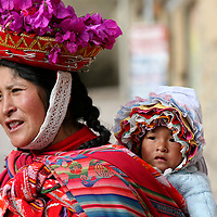 Americas, South America, Peru, Ollanta.  Quechuan woman with baby.