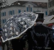 Biedermeier festival in Heiden, Switzerland in Septembet 2010, top hat, umbrella, parasol