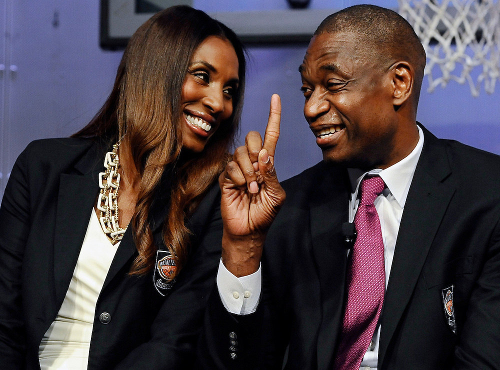 2015 class of inductees into the Basketball Hall of Fame Lisa Leslie, left, smiles as Dikembe Mutombo, right, waves his finger during a news conference at the Naismith Memorial Basketball Hall of Fame,Thursday, Sept. 10, 2015, in Springfield, Mass. (AP Photo/Jessica Hill)