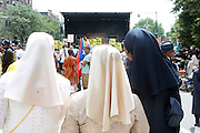 New York, NY-August 13-  Women of the Nation of Islam at the Millions March in Harlem with keynote speaker Hon. Louis Farrakhan held at the corner of West 110th and Lenox Avenue in Harlem on August 13, 2011 in New York City. Photo Credit: Terrence Jennings