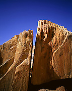 AA02003-03...NEVADA - Split sandstone block in the Valley of Fire State Park.