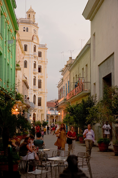 Mercaderes Street in the restored area of historic old Havana