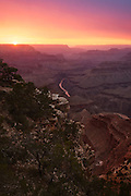 Sunset over the Grand Canyon and the Colorado River from Mohave Point on the South Rim.
