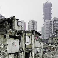 Chongqing - January 11, 2011: a demolished area near Zhonshan Lu in the  Chaotianmen district.