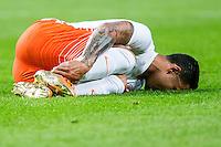 AMSTERDAM - Nederland - USA , Amsterdam ArenA , Voetbal , oefeninterland , 05-06-2015 ,  Nederlands elftal speler Memphis Depay op de grond