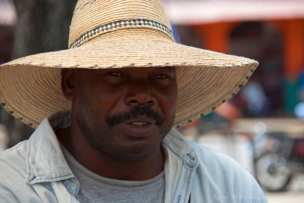 Central America, Cuba, Santa Clara. Cuban man in hat.