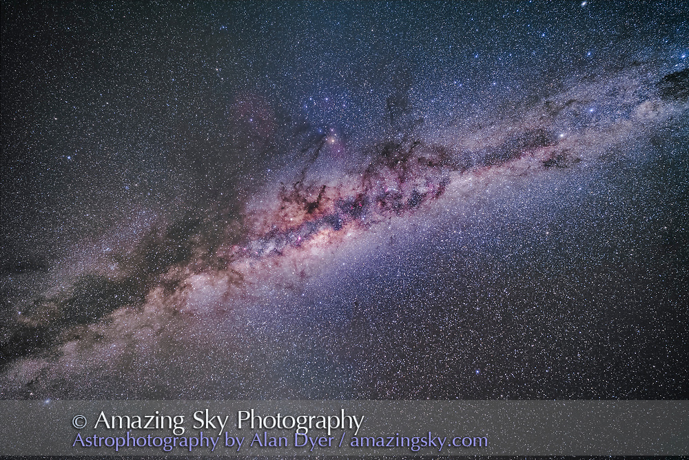 The centre of the Galaxy region in Sagittarius and Scorpius overhead in the wee hours of an April morning in Australia. At upper right are Alpha and Beta Centauri, while at lower left is Altair. <br /> <br /> The Norma Starcloud is right of the galactic core; the Scutum Starcloud is left of the core. Antares is the yellow star above centre, with the dark lanes of the Dark Horse and Pipe Nebula streaming up toward Antares area. <br /> <br /> Some airglow and Zodiacal Light tints the sky. <br /> <br /> This is a stack of 5 x 2.5-minute exposures with the 14mm Rokinon SP lens at f/2.8 and filter-modified Canon 5D Mark II at ISO 1600. On the iOptron Sky-Tracker, from Tibuc Gardens Cottage in Australia.