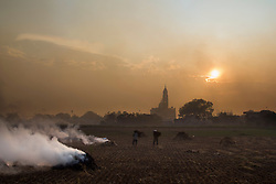 "Farmer burns straws to prepare for a new cycle of crop. ""burning field season"", Nam Dinh province, Vietnam, Asia. Church in background"