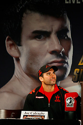 Nov 5, 2008; New York, NY, USA; Joe Calzaghe speaks at the final press conference for his November 8, 2008 Light Heavyweight Championship fight against Roy Jones Jr. The two fighters will meet at Madison Square Garden in NY, NY.