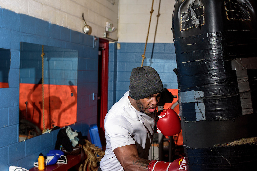 Baltimore, Maryland - January 26, 2017: A boxer trains at the Upton Boxing Club in Baltimore Thursday January 26, 2017.<br /> <br /> <br /> CREDIT: Matt Roth for The New York Times<br /> Assignment ID: