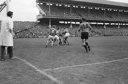 All Ireland Senior Football Championship Final, Kerry v Down, 22.09.1968, 09.22.1968, 22nd September 1968, Down 2-12 Kerry 1-13, Referee M Loftus (Mayo)...P. Doherty Down forward is really in trouble near the Kerry goal as he is tackled by four of the Kerry backs, .