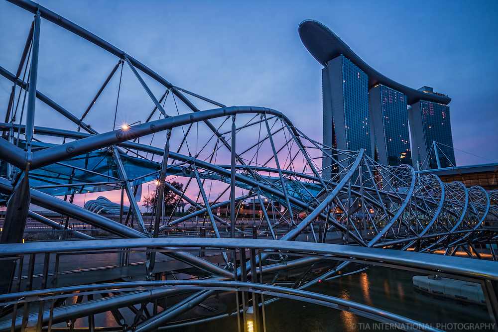 The Helix Bridge & Marina Bay Sands Resort
