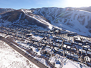 SHOT 3/2/17 4:36:26 PM - Aerial photos of Park City, Utah. Park City lies east of Salt Lake City in the western state of Utah. Framed by the craggy Wasatch Range, it's bordered by the Deer Valley Resort and the huge Park City Mountain Resort, both known for their ski slopes. Utah Olympic Park, to the north, hosted the 2002 Winter Olympics and is now predominantly a training facility. In town, Main Street is lined with buildings built primarily during a 19th-century silver mining boom that have become numerous restaurants, bars and shops. (Photo by Marc Piscotty / © 2017)