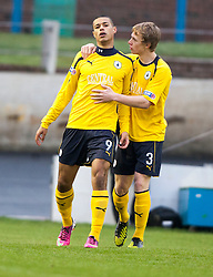 Falkirk's Lyle Taylor celebrates after scoring their first goal..half time : Falkirk v Cowdenbeath, 9/2/2013..©Michael Schofield.