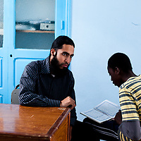 A young teacher at a Madrassa in Karaouine which remains an important place for Islamic scholorship with students coming from across Africa to study.