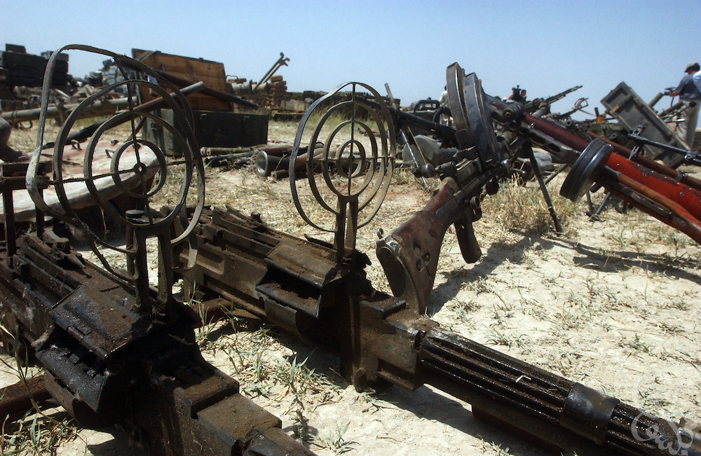 A variety of captured al-Qaeda weapons are displayed July 3, 2002 at the Khost airbase in southeastern Afghanistan. U.S. special forces in the region uncovered the weapons as part of a 30 ton cache last week after receiving tips of al-Qaeda activity in the area.