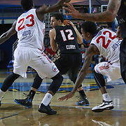 Erie BayHawks Guard Seth Curry (12) drives towards the paint as Delaware 87ers Forward Victor Rudd (23) and Delaware 87ers Guard Jamal Jones (22) defends in the second half of a NBA D-league regular season basketball game between the Delaware 87ers and the Erie BayHawk (Orlando magic) Friday, Jan. 02, 2015 at The Bob Carpenter Sports Convocation Center in Newark, DEL